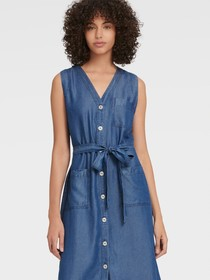 Donna Karan V-NECK BUTTON-UP MIDI DRESS
