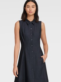 Donna Karan SLEEVELESS DENIM SHIRT DRESS