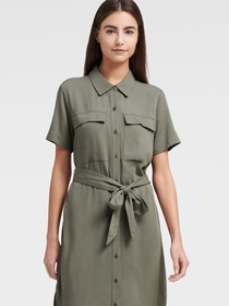 Donna Karan SHORT SLEEVE DRESS WITH FRONT POCKETS