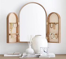Pottery Barn Tri-Fold Mirror with Caned Jewelry Ho