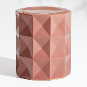 Crate Barrel Mauve Faceted Garden Stool End Table