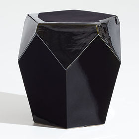 Crate Barrel Faceted Black End Table