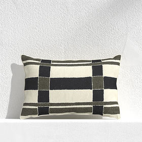 """Crate Barrel Mohave Plaid 20""""x13"""" Outdoor Pillow"""