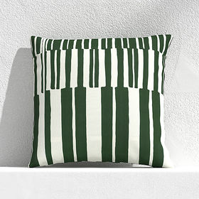 """Crate Barrel Striped Lines Green 20"""" Outdoor Pillo"""