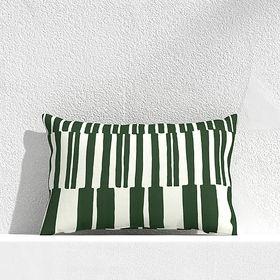 """Crate Barrel Striped Lines Green 20""""x13"""" Outdoor P"""