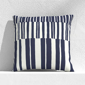 """Crate Barrel Striped Lines Navy 20"""" Outdoor Pillow"""