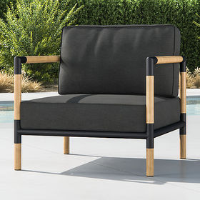 Crate Barrel Barra Teak/Metal Lounge Chair with Ch