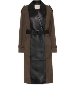 Tod's Gabardine and leather trench coat