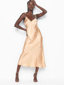 Victoria Secret Satin Jacquard Midi Slip Dress