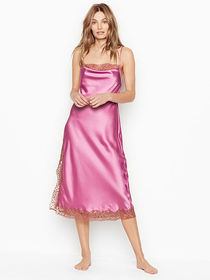 Victoria Secret Satin & Lace Midi Slip Dress