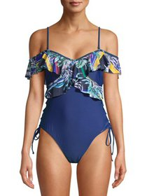 XOXO Women's Ruffle One-Shoulder One-Piece Swimsui