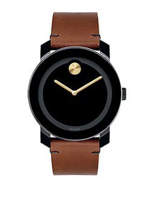 Movado BOLD Stainless Steel Watch TAN BLACK