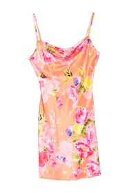 bebe Floral Print Satin Cowl Neck Mini Dress