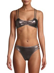 XOXO Metallic Bikini With Criss-Cross Straps Brale