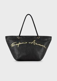 Armani Woven beach bag with embroidered logo