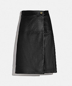 Coach leather skirt with turnlock