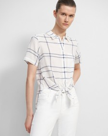 Tie Front Shirt in Plaid Viscose-Linen