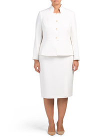 TAHARI BY ASL Plus Stand Collar Jacket With Skirt