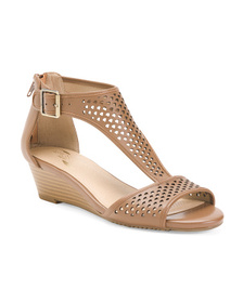 AEROSOLES Leather Comfort Perforated Wedge Sandals