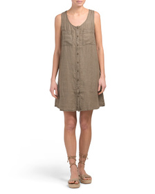 NICOLE MILLER Button Front Short Linen Dress