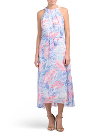 NICOLE MILLER Pleated Halter Neck Hi-lo Maxi Dress