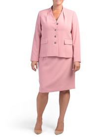 TAHARI BY ASL Plus Four Button Jacket And Skirt Su
