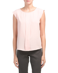 TAHARI BY ASL Cap Sleeve Pleated Front Top