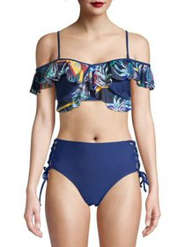 XOXO Womens Flounce Top and Bottom Swimsuit, 2-Pie