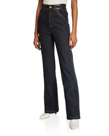See by Chloe High-Rise Boot-Cut Jeans w/ Patent Tr