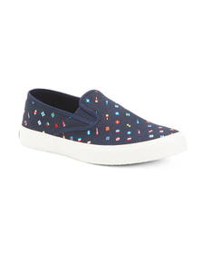 SPERRY Men's Canvas Slip On Sneakers With Flags