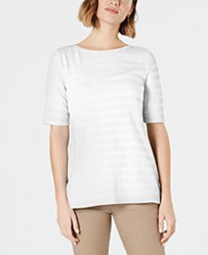 Cotton Texture-Striped Elbow-Sleeve Top, Created f