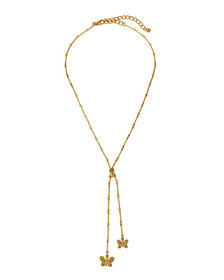 Kenneth Jay Lane Crystal Butterfly Lariat Necklace