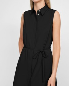 Short-Sleeve Belted Shirtdress in Stretch Cotton