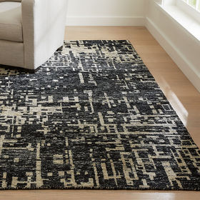 Crate Barrel Celosia Black Hand-Knotted Rug 9'x12'