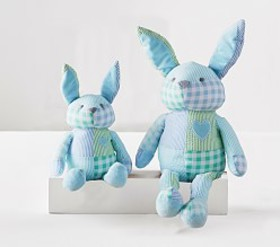 Pottery Barn Blue Gingham Plush Bunny