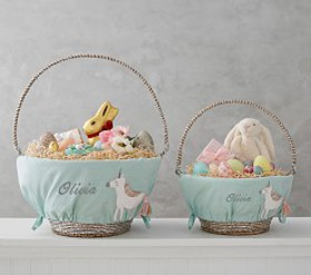 Pottery Barn Aqua Unicorn Easter Basket Liners
