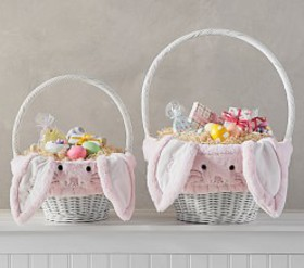 Pottery Barn Pink Fur Bunny Easter Basket Liners