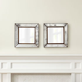 Crate Barrel Dubois Small Square Wall Mirrors, Set