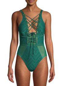 XOXO Women's Lace-Up One-Piece Swimsuit