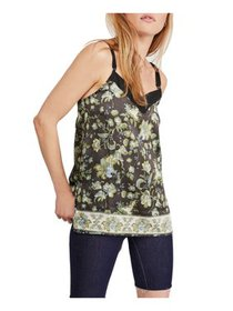FREE PEOPLE Womens Black Floral V Neck Tank Top Pe