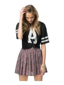 Aeropostale Womens Floral Skater Pleated Skirt, bl