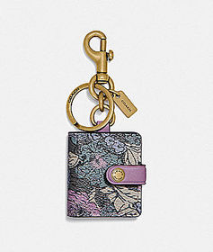 Coach picture frame bag charm with heritage floral