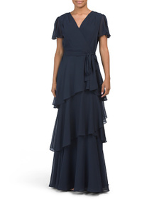 TAHARI BY ASL Flutter Sleeve Tiered Gown