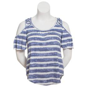 Womens Absolutely Famous Short Sleeve Cold Shoulde