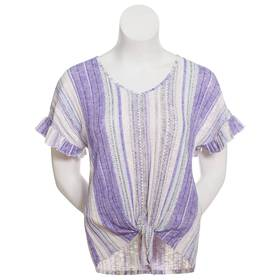 Womens Absolutely Famous Short Ruffled Sleeve Stri