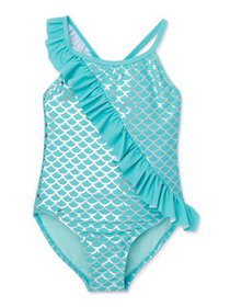 XOXO Girls Mermaid Asymmetrical Ruffle One-Piece S