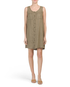 NICOLE MILLER Button Front Linen Dress