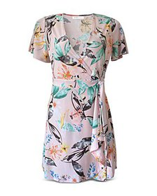 BCBGeneration - Floral Flutter Sleeve Wrap Dress