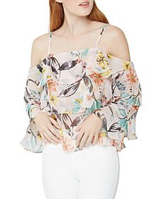 BCBGeneration - Floral Ruffled Cold Shoulder Top