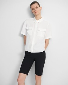 Patch Pocket Shirt in Viscose Twill